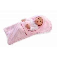 Muñeca Real Baby Rosa Con Saco