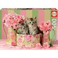 Puzzle Gatitos Con Rosas de 500 Piezas