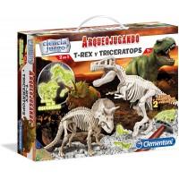 Arqueojugando T-Rex y Triceratops