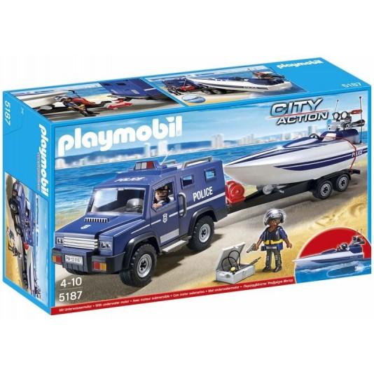 Coche de Policía con lancha de Playmobil