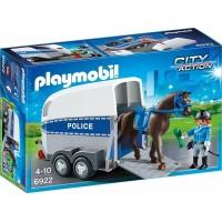 Policía Con Caballo y Remolque De Playmobil